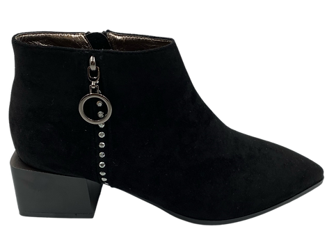 Betsy - 908020 -Black Ankle Boot with Offset Heel and Diamante Zip