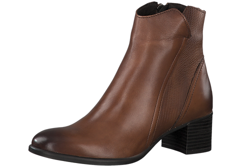 MarcoTozzi - 25399 - Brown Leather, Heeled Ankle Boot with Snakeskin Panel