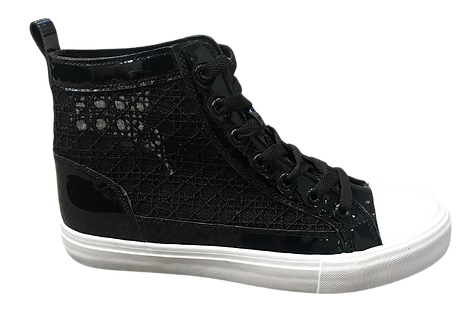 Keddo - 817195 - Black and White High Top Trainer with Lace Panel