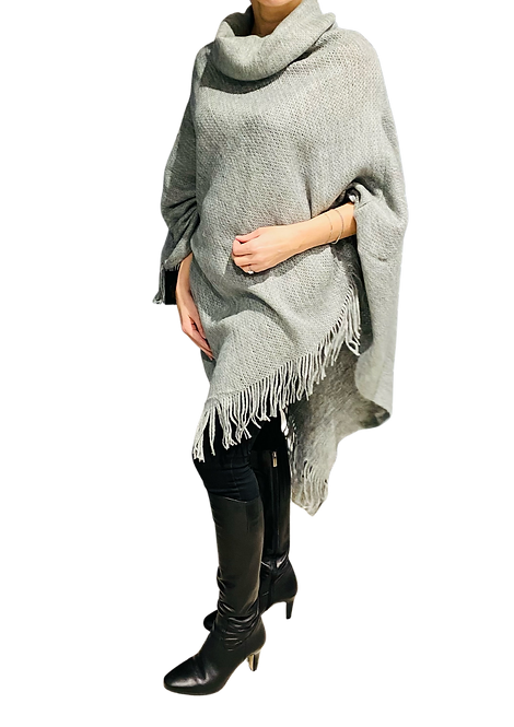 526 - Roll Neck Poncho in Grey