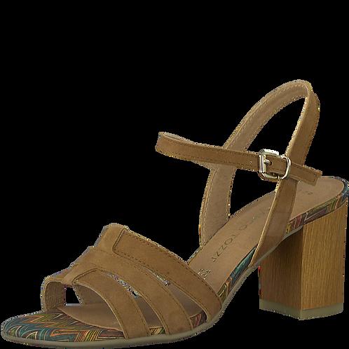 Marco Tozzi - 28384 - Tan, Leather, Block Heeled Sandal