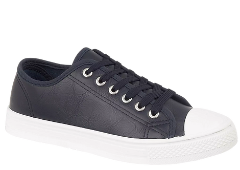 Cambridge Navy Pump with Matching Laces and Contrast Sole