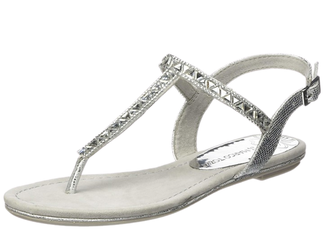Marco Tozzi - 28127 - Silver Jewelled Thong Sandal
