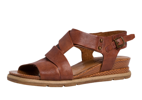 Tamaris - 28254 - Brown Leather Sandals with Wrap Over Strap detail
