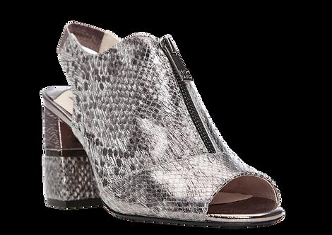 Moda In Pelle - Loelia - Block Heeled Sandal in Metallic Snakeskin