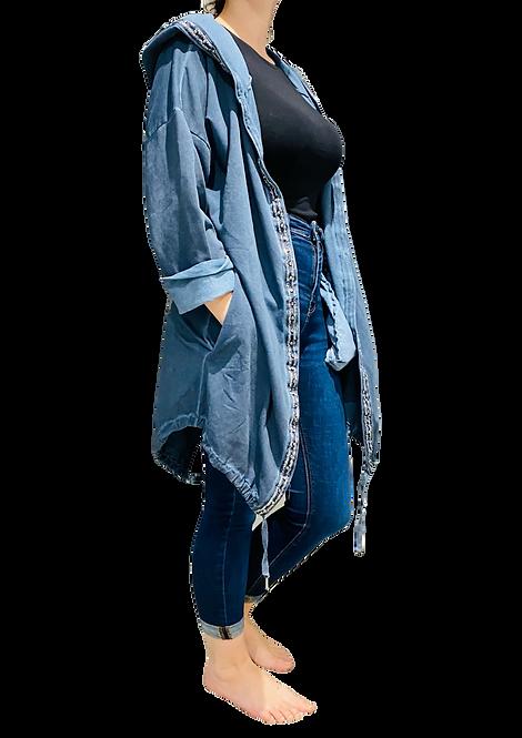 015 - Hooded Jacket with Metallic Flower Design