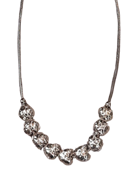 NS50067 - Silver Cluster Heart Necklace