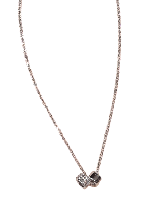 N50295 - Silver Sparkle Hoops Necklace
