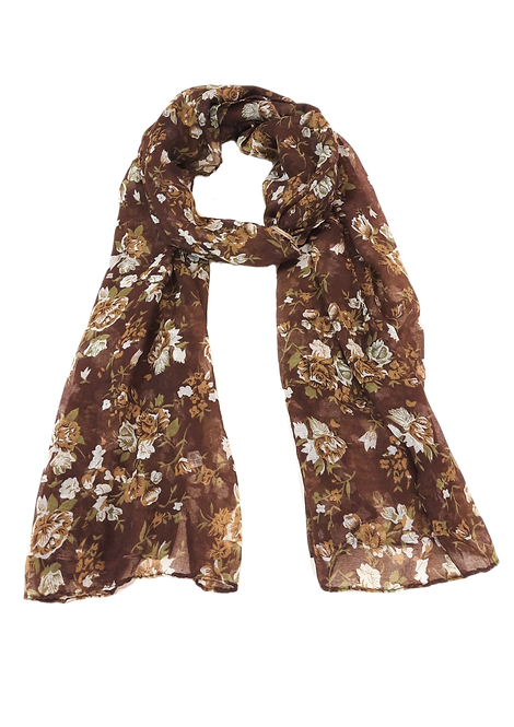 5015 - Brown Floral Scarf