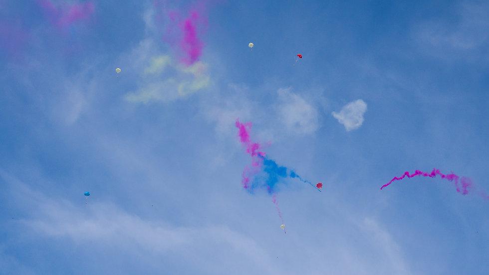 Colorful parachute firework in sky .jpg