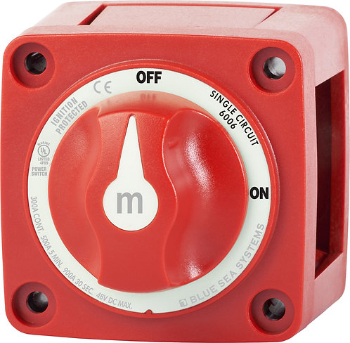 Blue Sea Systems m-Series Mini On-Off Battery Switch with Knob - Red