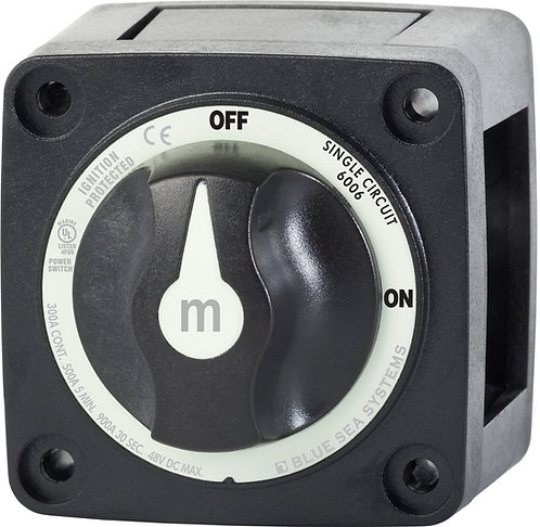 Blue Sea Systems m-Series Mini On-Off Battery Switch with Knob - Black