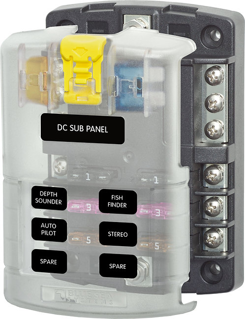 Blue Sea Systems ST Blade Fuse Block - 6 Circuits with Negative Bus and Cover