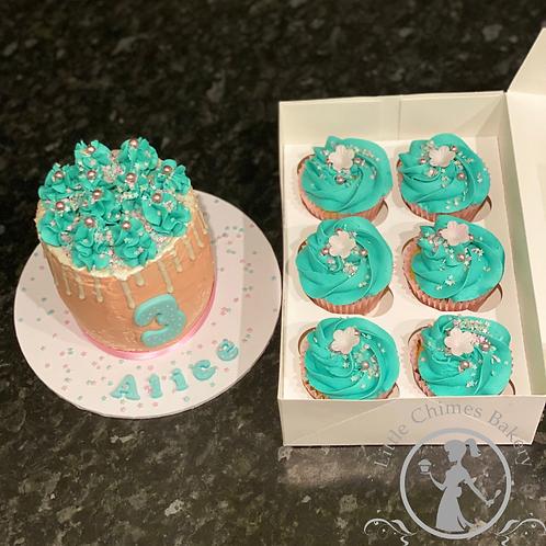 "Celebrations - Small 4"" basic cake & box of 6 matching cupcakes"