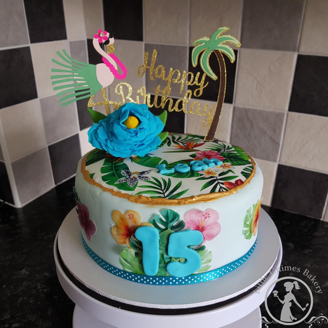 Birthday - Girl Tropical flowers, chocol