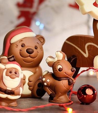 Sweet chocolate Christmas figurines