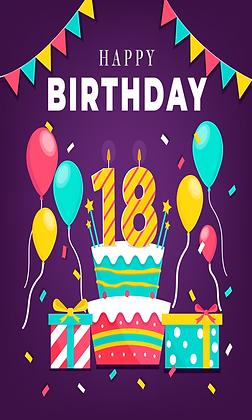Purple 18th birthday card