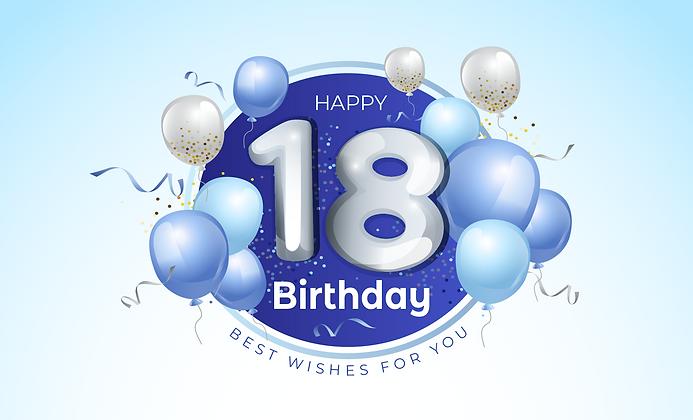 Blue 18th birthday card