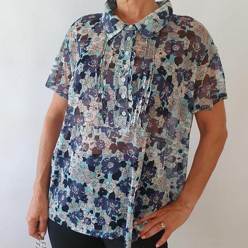 חולצה שקופה כחול פרחים