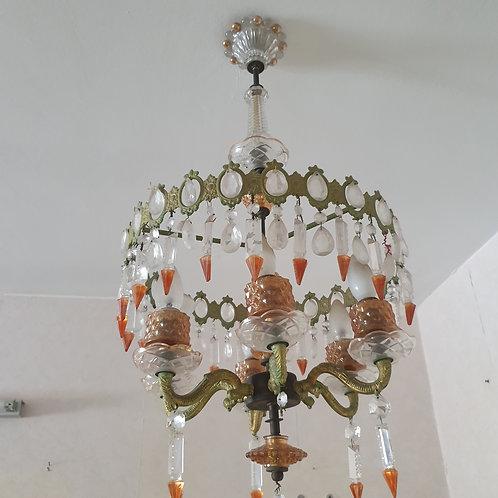 מנורת תיקרה מזכוכית מרהיבה מושלמת וינטאג'