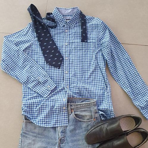 חולצה משובצת כחול לבן L