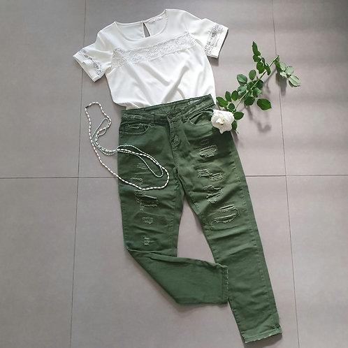 מכנס ג'ינס גיזרה גבוהה ירוק 36