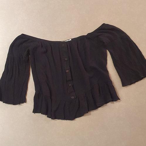 חולצת בטן שחורה כפתורים M