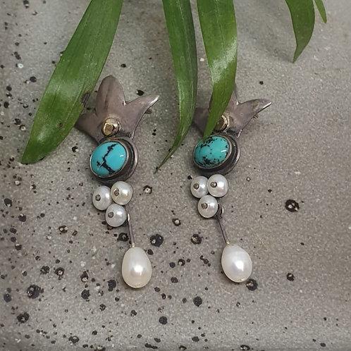 עגילים צמודים - אבן טורקיז ופנינים