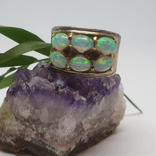 טבעת כסף וזהב - 6 אבני אופאל