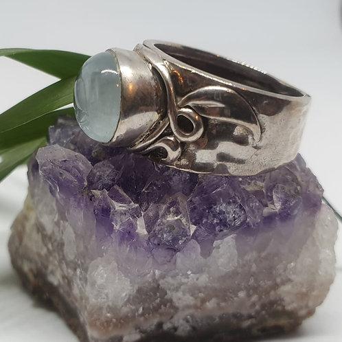 טבעת כסף - אבן אקוורמין