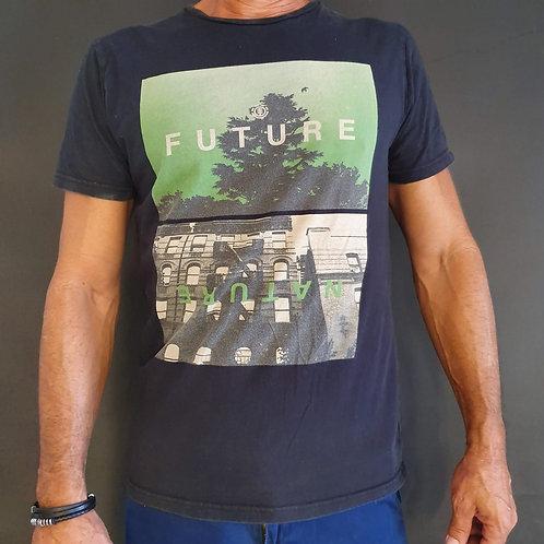 חולצת טישרט לגבר אפורה עם הדפס S