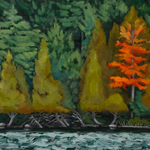 Leigh Smith, Trimmed by Deer, oil on woo