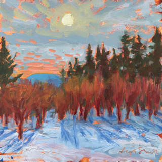 Winter Shadows, 2020, oil on board, 6_x6