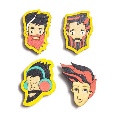 Boy Cartoon Badge Magnets Combo 3