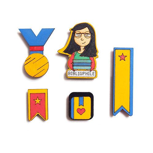 Bibliophile Badge Magnets Combo 3