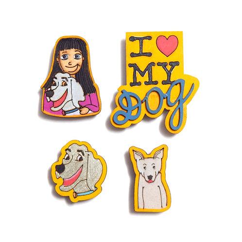 Dog Love -Badge Magnets Combo 1