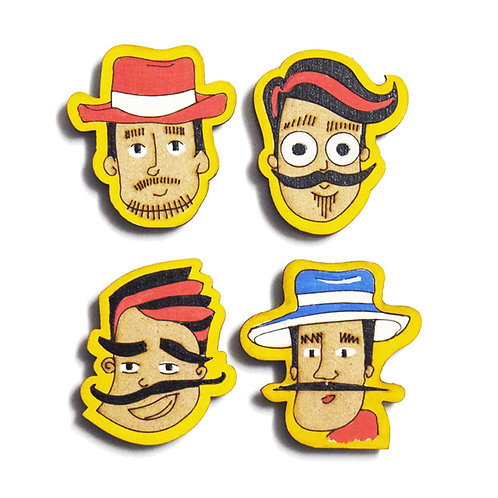 Boy Cartoon Badge Magnets Combo 1