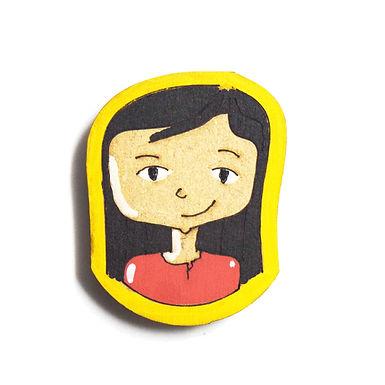 Girl Cartoon Badge Magnet 17