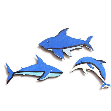 Sharks and Dolphin Bagde Magnets Combo 2