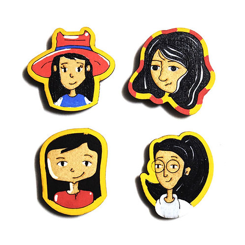 Girl Cartoon Badge Magnets Combo 1