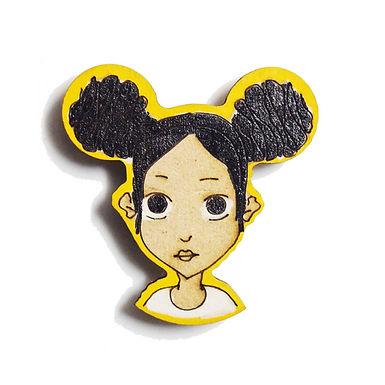 Girl Cartoon Badge Magnet 9