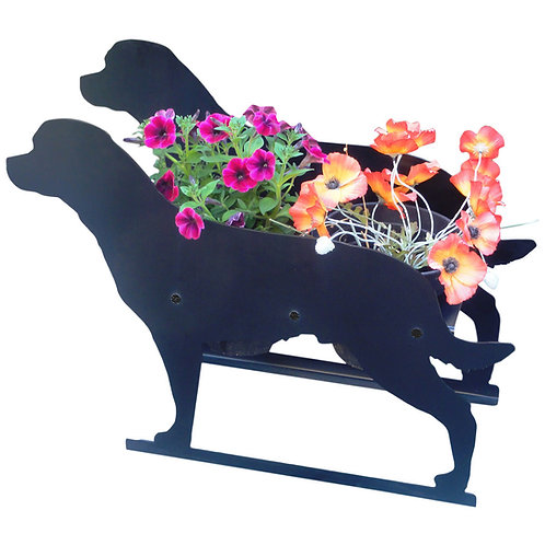 Rottweiler (with tail) Themed Planter