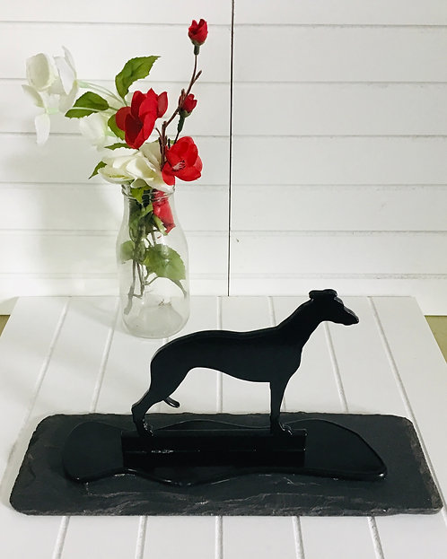 Whippet Silhouette Ornament Mounted on Welsh Slate Base