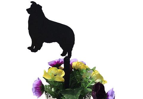 Border Collie Flowerpot Stake