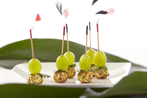 Mini brochette raisin chèvre et poudre de pistache - 10 pièces