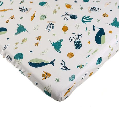 סדין למיטת תינוק - מצולות ים