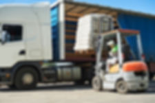 Loading works. Forklift with load and lo