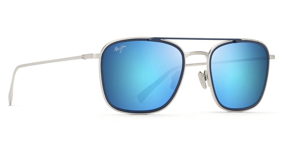 Maui Jim Lentes de Sol Polarizados Following Seas Plata Mate / Borde Azul Oscuro