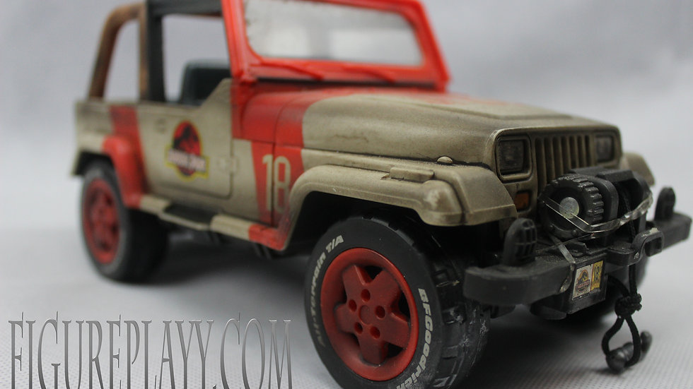 Custom painted Jurassic Park Action figure Jeep 1:18 Scale
