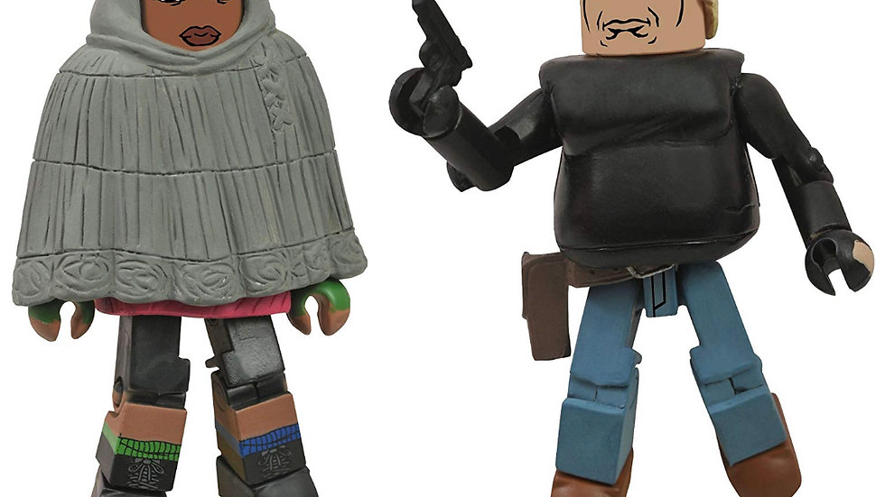 The Walking Dead Minimates: Series 4 Hooded Michonne and Gabe Action Figure 2-Pa
